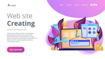 Los profesionales de TI están creando un sitio web en la pantalla del portátil. Desarrollo de sitios web o aplicaciones web, codificación, diseño para el concepto de navegadores web. Paleta violeta. Plantilla de página web de aterrizaje del sitio web. Ilustración de vector