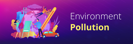 People in panic to announce global heating data. Globe with power plant and traffic fumes as a symbol of environment pollution, global heating impact. Header or Footer banner template, copy space.  イラスト・ベクター素材