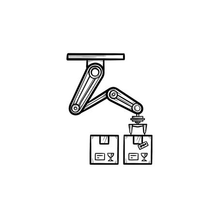 Robotic arm picks a box in manufacturing process hand drawn outline doodle icon. Production belt, factory robot. Vector sketch illustration for print, web, mobile and infographics on white background.
