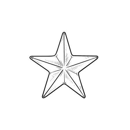 Star hand drawn outline doodle icon. Rating and review, mark and favorite, success and favorite concept. Vector sketch illustration for print, web, mobile and infographics on white background.