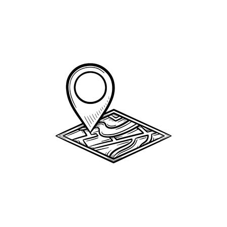 Icona di doodle contorni disegnati a mano pin mappa. Indicatore di indirizzo e mappa, puntatore e localizzatore mobile, concetto di navigazione. Illustrazione di schizzo di vettore per stampa, web, mobile e infografiche su sfondo bianco. Vettoriali