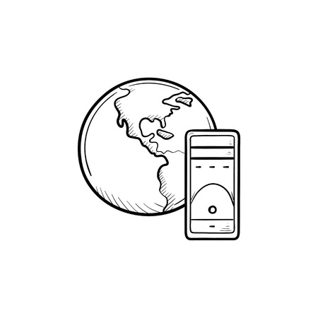 Globe and server hand drawn outline doodle icon. Global computing, networking technology, data concept. Vector sketch illustration for print, web, mobile and infographics on white background. Illustration