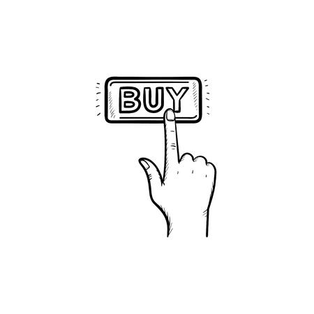 Vinger klikken op koopknop hand getrokken schets doodle pictogram. E-commerce, aankoop, online shopping apps-concept. Vector schets illustratie voor print, web, mobiel en infographics op witte achtergrond.
