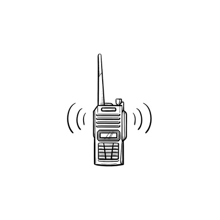 Radio con icono de doodle de contorno dibujado de mano de antena. Radio policial y walkie talkie, concepto de radio portátil. Ilustración de dibujo vectorial para impresión, web, móvil e infografía sobre fondo blanco.