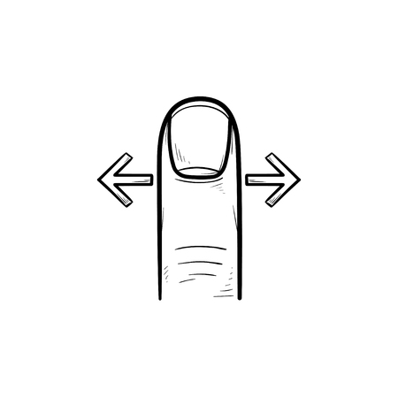 Finger wischen Gesten Hand gezeichnete Umriss Gekritzel Symbol. Touchscreen-Geste, Bildlaufkonzept links und rechts. Vektorskizzenillustration für Druck, Web, Handy und Infografiken auf weißem Hintergrund. Vektorgrafik