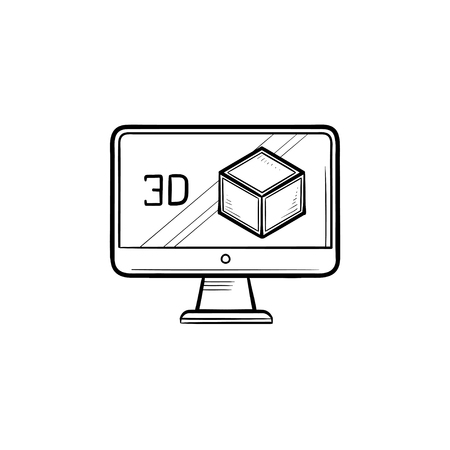 Computer monitor with 3D box hand drawn outline doodle icon. Three-dimensional technology concept. Vector sketch illustration for print, web, mobile and infographics on white background.