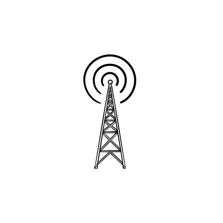 Radio tower hand drawn outline doodle icon. Radio antenna, wireless communication, broadcast concept. Vector sketch illustration for print, web, mobile and infographics on white background.