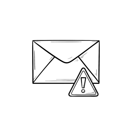 Envelope and exclamation mark hand drawn outline doodle icon. Warning message, spam and malware, alert concept. Vector sketch illustration for print, web, mobile and infographics on white background. Illustration