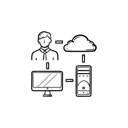 Cloud, programmer and computer hand drawn outline doodle icon. Cloud technology, data storage concept. Vector sketch illustration for print, web, mobile and infographics on white background. Ilustrace