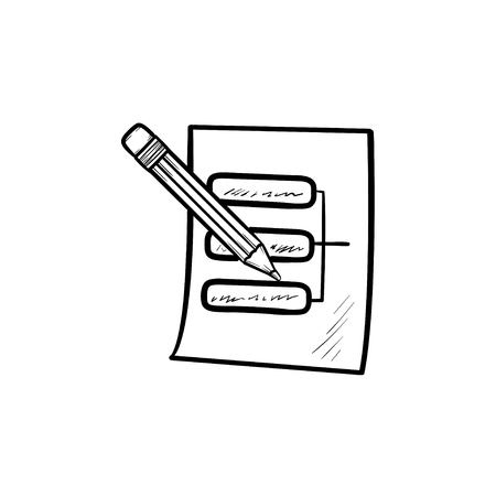 Pencil and paper sheet with system parts hand drawn outline doodle icon. Data system and architecture concept. Vector sketch illustration for print, web, mobile and infographics on white background.