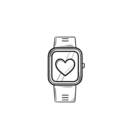 Smartwatch with heart hand drawn outline doodle icon. Fitness watch and healthcare, modern gadget concept. Vector sketch illustration for print, web, mobile and infographics on white background.