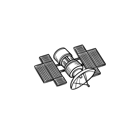 Satellite hand drawn outline doodle icon. Broadcasting and media streaming, navigation, communication concept. Vector sketch illustration for print, web, mobile and infographics on white background. Иллюстрация