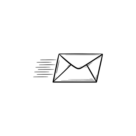 Flying mail hand drawn outline doodle icon. Newsletter, mail delivery, sending and receiving message concept. Vector sketch illustration for print, web, mobile and infographics on white background.