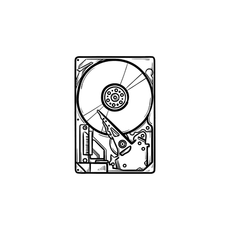 Hard drive hand drawn outline doodle icon. Hardware and data storage, PC equipment and memory device concept. Vector sketch illustration for print, web, mobile and infographics on white background.