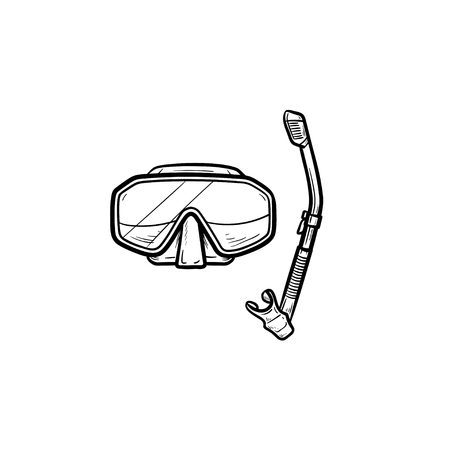 Diving mask with snorkel hand drawn outline doodle icon. Diving equipment, leisure, snorkeling concept. Vector sketch illustration for print, web, mobile and infographics on white background.