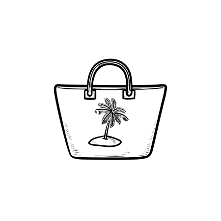 Beach bag hand drawn outline doodle icon. Beach accessories, handbad and summer vacation, fashion concept. Vector sketch illustration for print, web, mobile and infographics on white background. Illustration
