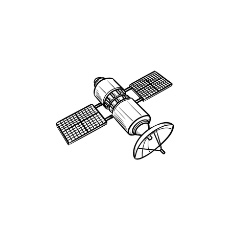 Satellite hand drawn outline doodle icon. Navigation and communication, space and antenna concept. Vector sketch illustration for print, web, mobile and infographics on white background.