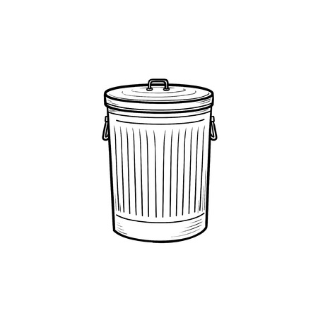 Trash bin hand drawn outline doodle icon. Trash and garbage can, steel rubbish bin and clean household concept. Vector sketch illustration for print, web, mobile and infographics on white background.