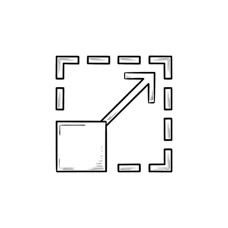 Scalability hand drawn outline doodle icon. Size expand and enlarge, magnification and adjust concept. Vector sketch illustration for print, web, mobile and infographics on white background.