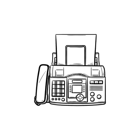 Fax machine with a sheet of paper hand drawn outline doodle icon. Business communication technology concept. Vector sketch illustration for print, web, mobile and infographics on white background. Stock Illustratie