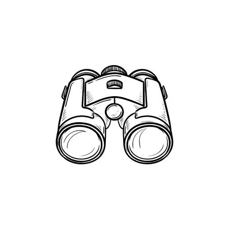 Icône de doodle contour dessiné main jumelles. Concept d'équipement optique et d'espionnage, recherche, montre et zoom Illustration de croquis de vecteur pour impression, web, mobile et infographie sur fond blanc. Vecteurs