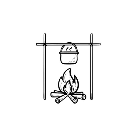 Cooking in cauldron on campfire hand drawn outline doodle icon. Outdoor cooking, camping and travel concept. Vector sketch illustration for print, web, mobile and infographics on white background. Vettoriali