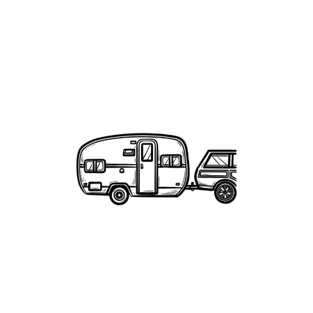 Camper and car hand drawn outline doodle icon. Caravan vacation and trip, travel trailer, recreation concept. Vector sketch illustration for print, web, mobile and infographics on white background. Illustration