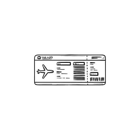 Airplane ticket hand drawn outline doodle icon. Plane travel, boarding pass and airport, flight concept. Vector sketch illustration for print, web, mobile and infographics on white background. Stock Vector - 109760081