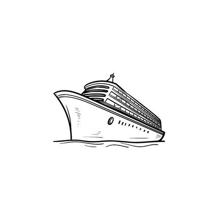 Icône de doodle contour dessiné main bateau de croisière. Vacances et voyages en bateau, voyages et visites maritimes, concept de livraison Illustration de croquis de vecteur pour impression, web, mobile et infographie sur fond blanc.