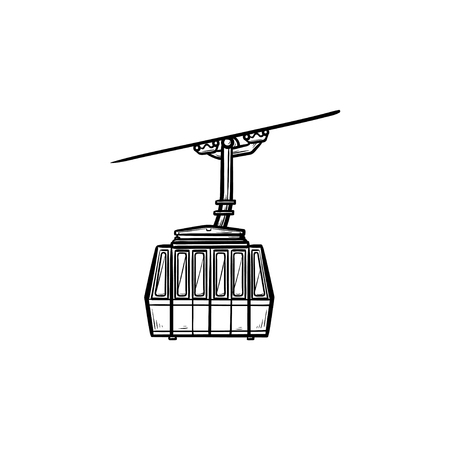 Funicular hand drawn outline doodle icon. Cableway and ski cable lift, winter sport and mountains concept. Vector sketch illustration for print, web, mobile and infographics on white background. Vector Illustration