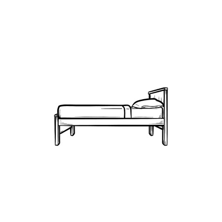 Single bed with pillow hand drawn outline doodle icon. Hotel furniture, household, sleeping and bedroom concept. Vector sketch illustration for print, web, mobile and infographics on white background.