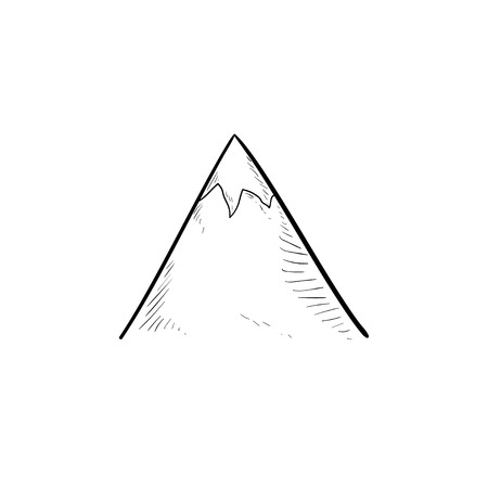 Snow mountain peak hand drawn outline doodle icon. Nature and tourism, travel and landscape concept. Vector sketch illustration for print, web, mobile and infographics on white background. Иллюстрация