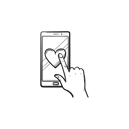 Hand clicking heart on smartphone screen hand drawn outline doodle icon. Social networking, rating concept. Vector sketch illustration for print, web, mobile and infographics on white background.
