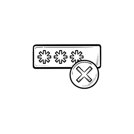 Entering login and fail hand drawn outline doodle icon. User access, security and wrong login concept. Vector sketch illustration for print, web, mobile and infographics on white background. Foto de archivo - 108691636