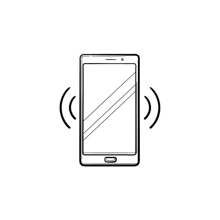 Smartphone vibrating hand drawn outline doodle icon. Mobile phone technology, incoming call and ring concept. Vector sketch illustration for print, web, mobile and infographics on white background.  イラスト・ベクター素材