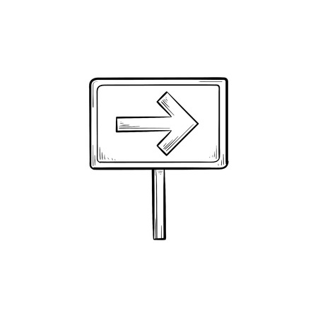 Road sign with arrow hand drawn outline doodle icon. Signpost and travel direction, guidepost and board concept. Vector sketch illustration for print, web, mobile and infographics on white background.