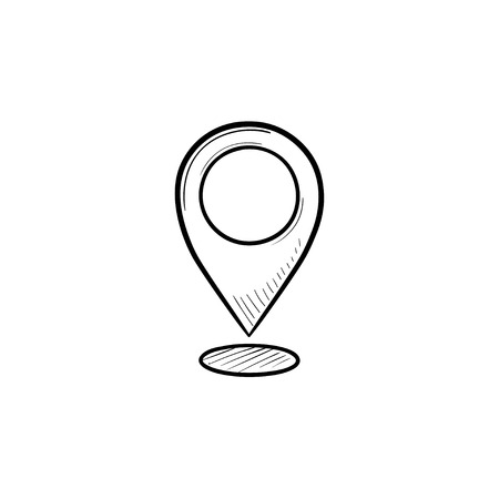 Map pointer hand drawn outline doodle icon. GPS location and destination, location marker and pin concept. Vector sketch illustration for print, web, mobile and infographics on white background.