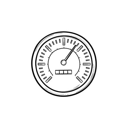 Speedometer hand drawn outline doodle icon. Speed limit gauge, speed control indicator and measurement concept. Vector sketch illustration for print, web, mobile and infographics on white background.