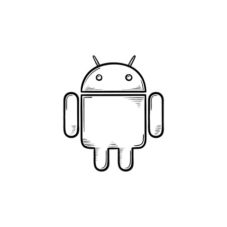 Phone robot hand drawn outline doodle icon. Business communication technology concept. Vector sketch illustration for print, web, mobile and infographics on white background.