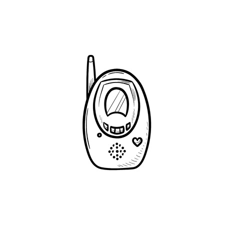 Radio baby monitor hand drawn outline doodle icon. Baby security and child safety, transmitter concept. Vector sketch illustration for print, web, mobile and infographics on white background.