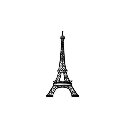 Eiffel Tower hand drawn outline doodle icon. France and landmark, tourism and architecture, famous concept. Vector sketch illustration for print, web, mobile and infographics on white background.