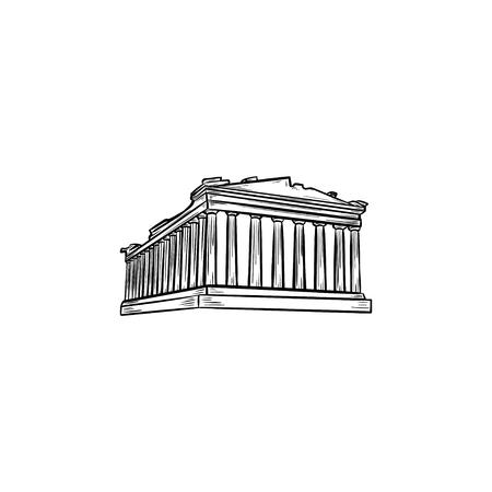 Hand gezeichnete Umriss-Gekritzelikone der Akropolis in Athen. Der Parthenon und Antient Tempel, Tourismuskonzept. Vektorskizzenillustration für Druck, Web, Handy und Infografiken auf weißem Hintergrund.