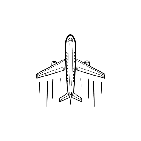 Airplane hand drawn outline doodle icon. Aviation transportation, aircraft travel, airliner concept. Vector sketch illustration for print, web, mobile and infographics on white background.