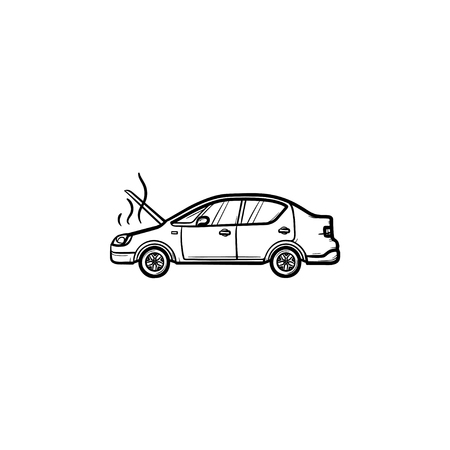 Broken car with open hood and steam hand drawn outline doodle icon. Heat trouble and engine, accident concept. Vector sketch illustration for print, web, mobile and infographics on white background.  イラスト・ベクター素材