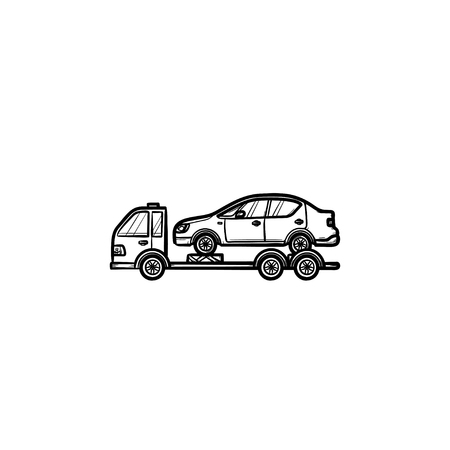 Tow truck with broken car hand drawn outline doodle icon. Roadside assistance, car transportation concept. Vector sketch illustration for print, web, mobile and infographics on white background. Banque d'images - 108713045
