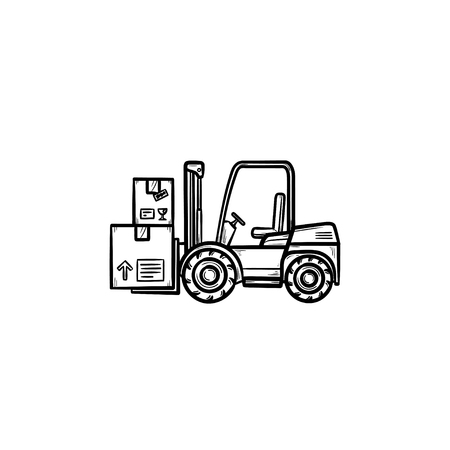 Warehouse forklift truck with cardboard boxes hand drawn outline doodle icon. Loader, warehouse vehicle concept. Vector sketch illustration for print, web, mobile and infographics on white background. Ilustracja