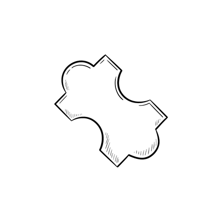 Jig saw puzzle piece hand drawn outline doodle icon. Digital system puzzle, business solution concept. Vector sketch illustration for print, web, mobile and infographics on white background.