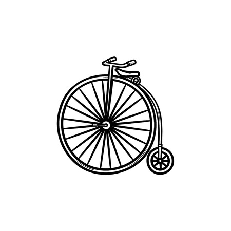 Old high wheel hand drawn outline doodle icon. Retro transport, vintage bicycle and recreation concept. Vector sketch illustration for print, web, mobile and infographics on white background.