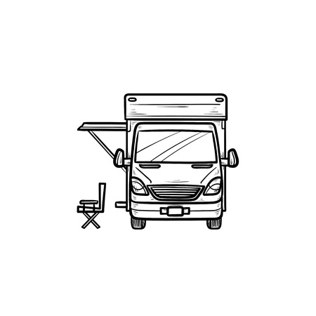 Motorhome with tent hand drawn outline doodle icon. Caravan and vacation, recreation and rv, camper concept. Vector sketch illustration for print, web, mobile and infographics on white background. Foto de archivo - 108691341