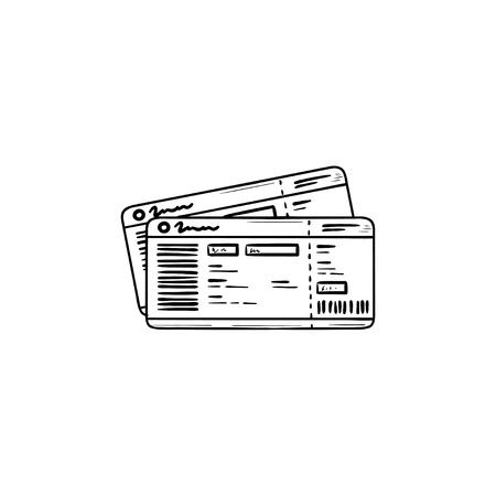 Icona di doodle contorni disegnati a mano biglietti dell'autobus. Viaggiare in autobus, turismo e viaggio d'affari, concetto di pass per autobus. Illustrazione di schizzo di vettore per stampa, web, mobile e infografiche su sfondo bianco. Archivio Fotografico - 109760146